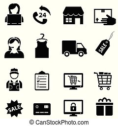 comércio eletrônico, jogo, shopping, ícone, online