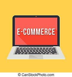 comércio eletrônico, laptop, vetorial, palavra
