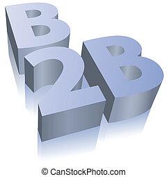 comércio eletrônico, símbolo, b2b, negócio