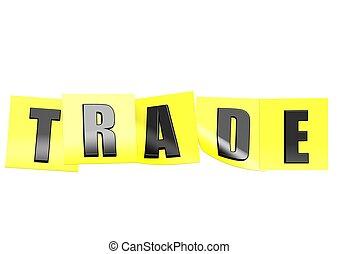 comércio, em, nota amarela