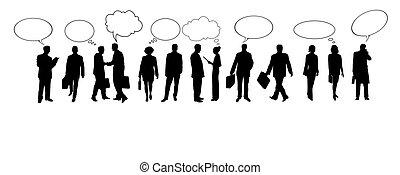 comércio falando, pessoas, silhuetas