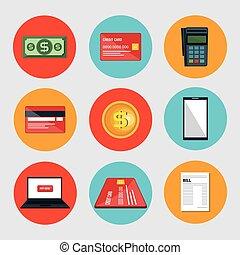 comércio, jogo, eletrônico, ícones