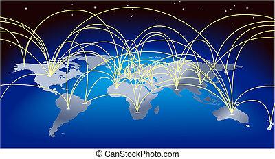 comércio mundial, fundo, mapa