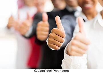 comércio pessoas, cima, polegares, dar