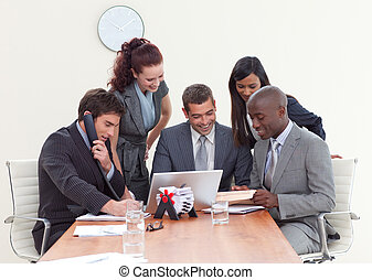 comércio pessoas, grupo, trabalhando, reunião