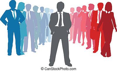 comércio pessoas, líder, equipe, companhia