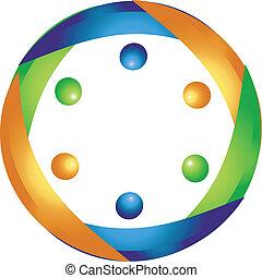 comércio pessoas, reunião, logotipo