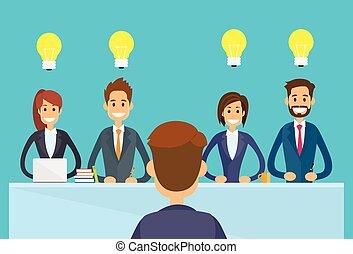 comércio pessoas, sentando, escritório, bulbo, luz, ...