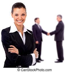 comércio pessoas, torcida, levantar, fundo, comprimento, isolado, cheio, equipe, grupo, branca