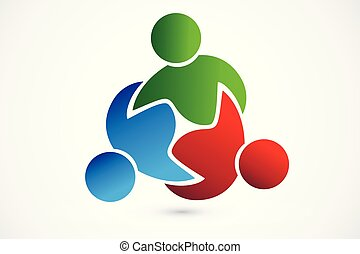 comércio pessoas, trabalho equipe, julgamento, logotipo