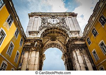 comércio, quadrado, portugal, rue, lisboa, augusta, arco