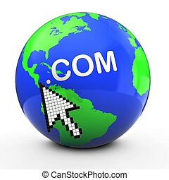 com, 点, 地球, 3d, 白, 地球, テキスト