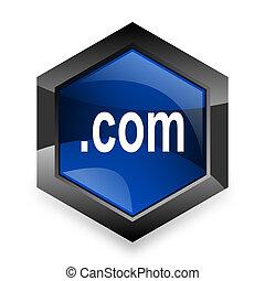 com, blauwe , zeshoek, 3d, moderne, ontwerp, pictogram, op wit, achtergrond
