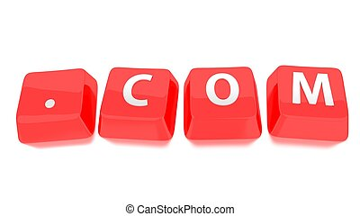 .COM written in white on red computer keys. 3d illustration. Isolated background.