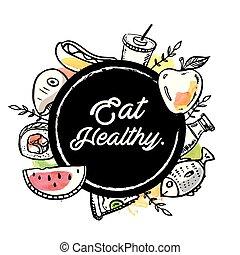 coma sano, círculo, fondo alimento, vector, imagen