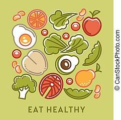 coma sano, dieta, y, dietético, nutrición, alimento,...