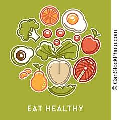 coma sano, vegetales, y, fruits, con, pez, nutrición,...