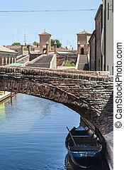 comacchio, -, mosty, i, łódki
