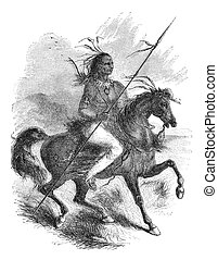 """Comanche native american warrior on a horse. Illustration originally published in Ernst von Hesse-Wartegg's """"Nord Amerika"""", swedish edition published in 1880. The image is currently in Public domain by virtue of age."""