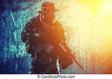 comando, oscuridad, rifle, luchador, mover furtivamente