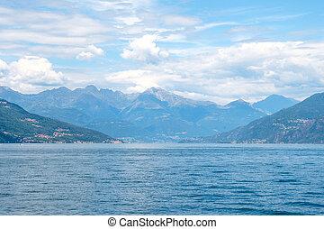 comasco, montagne, cielo, lago, nuvoloso