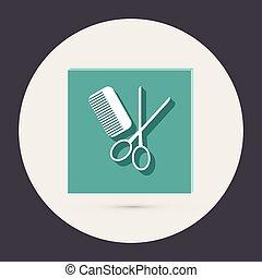 comb and scissors. barbershop.