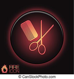 comb and scissors. barbershop. symbol of hair and beauty salon