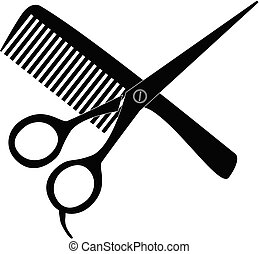 comb and scissors icon on white background. hair salon with scissors and comb sign. barber symbol. flat style.
