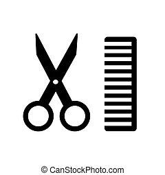 Comb and scissors icon. Vector