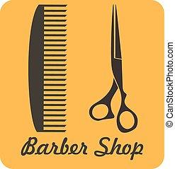 Comb and scissors icon vector