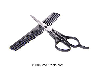 Comb and Scissors. Set Barber. Isolated