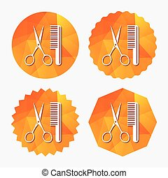 Comb hair with scissors sign icon. Barber symbol.