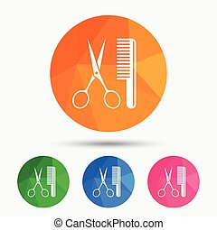 Comb hair with scissors sign icon. Barber symbol