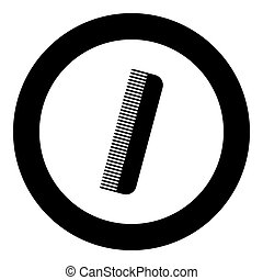 Comb icon black color in circle