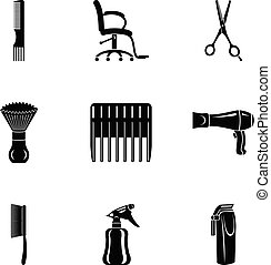 Comb icons set, simple style