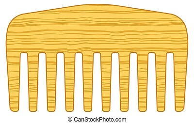 Comb - Illustration of the rustic wooden comb icon