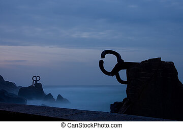 Comb of the winds at night Donostia (Spain)