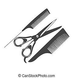 comb, scissors, barber tools, icon, vector illustration