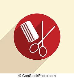 comb, scissors. barbershop.