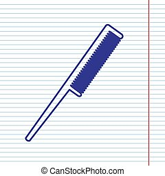 Comb sign. Vector. Navy line icon on notebook paper as background with red line for field.