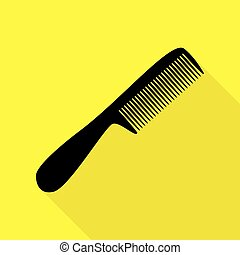 Comb simple sign. Black icon with flat style shadow path on yellow background.