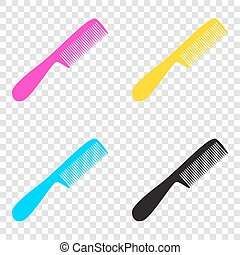Comb simple sign. CMYK icons on transparent background. Cyan, ma