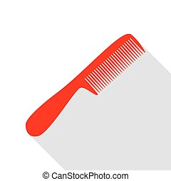 Comb simple sign. Red icon with flat style shadow path.
