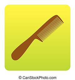 Comb simple sign. Vector. Brown icon at green-yellow gradient square with rounded corners on white background. Isolated.