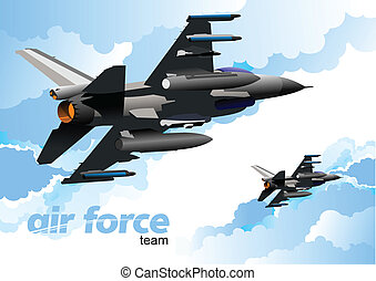 Combat aircraft. Colored vector il