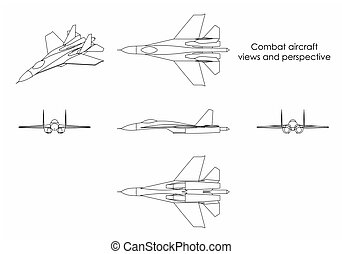 Combat aircraft. Outline only
