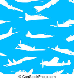 combat aircraft silhouettes.  vector illustration . Seamless wallpaper.