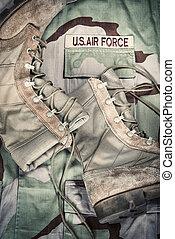 Combat boots and Air Force uniform
