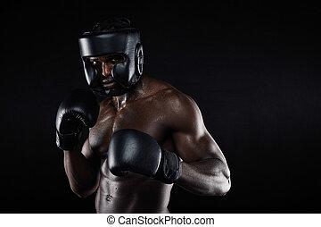 combat, boxeur, mâle jeune, position