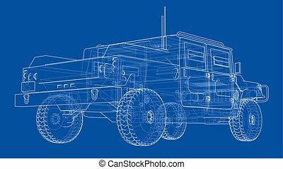 Combat car. Vector rendering of 3d